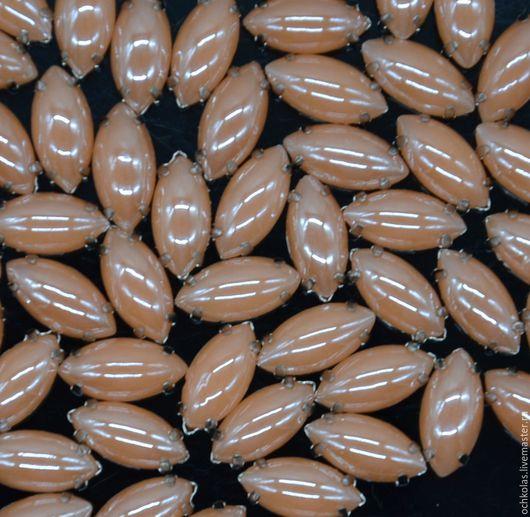 Для украшений ручной работы. Ярмарка Мастеров - ручная работа. Купить Перламутровые стразы длиный овал в цапах 15х7 мм персиковый. Handmade.