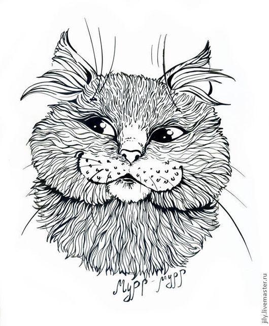 """Животные ручной работы. Ярмарка Мастеров - ручная работа. Купить Графика """"Мурчание"""". Handmade. Чёрно-белый, кошка, графика"""