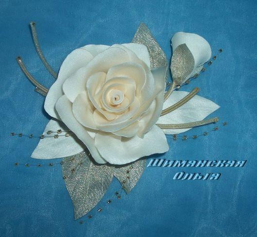 """Свадебные украшения ручной работы. Ярмарка Мастеров - ручная работа. Купить Цветы из ткани """"Чайная Роза"""". Handmade. Роза из ткани"""