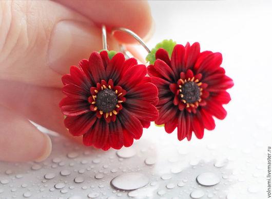 """Серьги ручной работы. Ярмарка Мастеров - ручная работа. Купить """"Гербера"""" серьги. Handmade. Бордовый, цветы"""