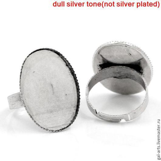 Для украшений ручной работы. Ярмарка Мастеров - ручная работа. Купить Кольцо-сеттинг 25х18 мм. Handmade. Античное серебро