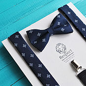 Аксессуары handmade. Livemaster - original item Dark blue tie with a pattern Suspenders dark blue Lord. Handmade.