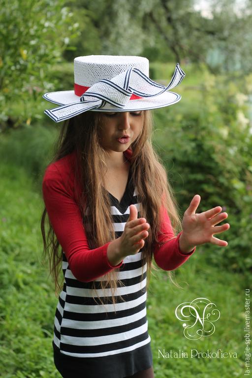 """Шляпы ручной работы. Ярмарка Мастеров - ручная работа. Купить Детское летнее канотье """"Pres du lac"""" (У озера). Handmade."""
