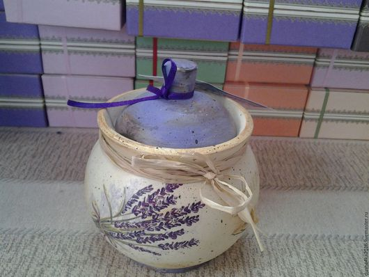 Кухня ручной работы. Ярмарка Мастеров - ручная работа. Купить Баночка деревянная для сахара и специй Лаванда. Handmade. Сиреневый, горшочек