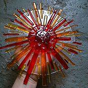 """Для дома и интерьера handmade. Livemaster - original item Оконный медальон """"Солнце"""" в технике фьюзинг. Handmade."""