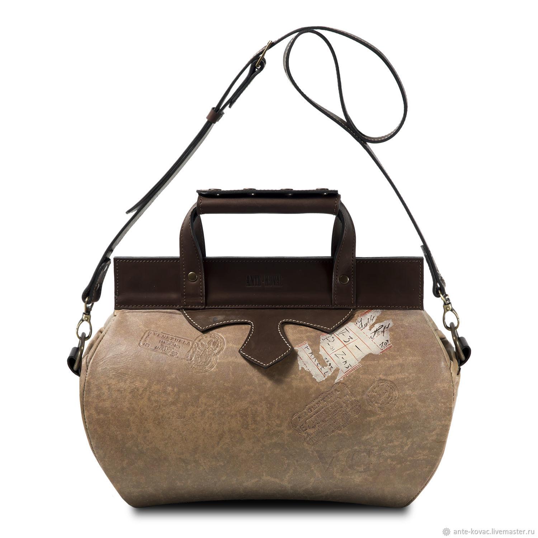 Женские сумки ручной работы. Ярмарка Мастеров - ручная работа. Купить Саквояж 30 см. Кофе. Handmade. Бежевый