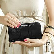 Сумки и аксессуары handmade. Livemaster - original item Purse snake skin zipper. Black wallet. Gift for women. Handmade.