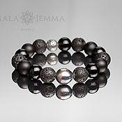 Украшения handmade. Livemaster - original item Men`s Pearl Bracelet with lava Pearl 13mm. Handmade.