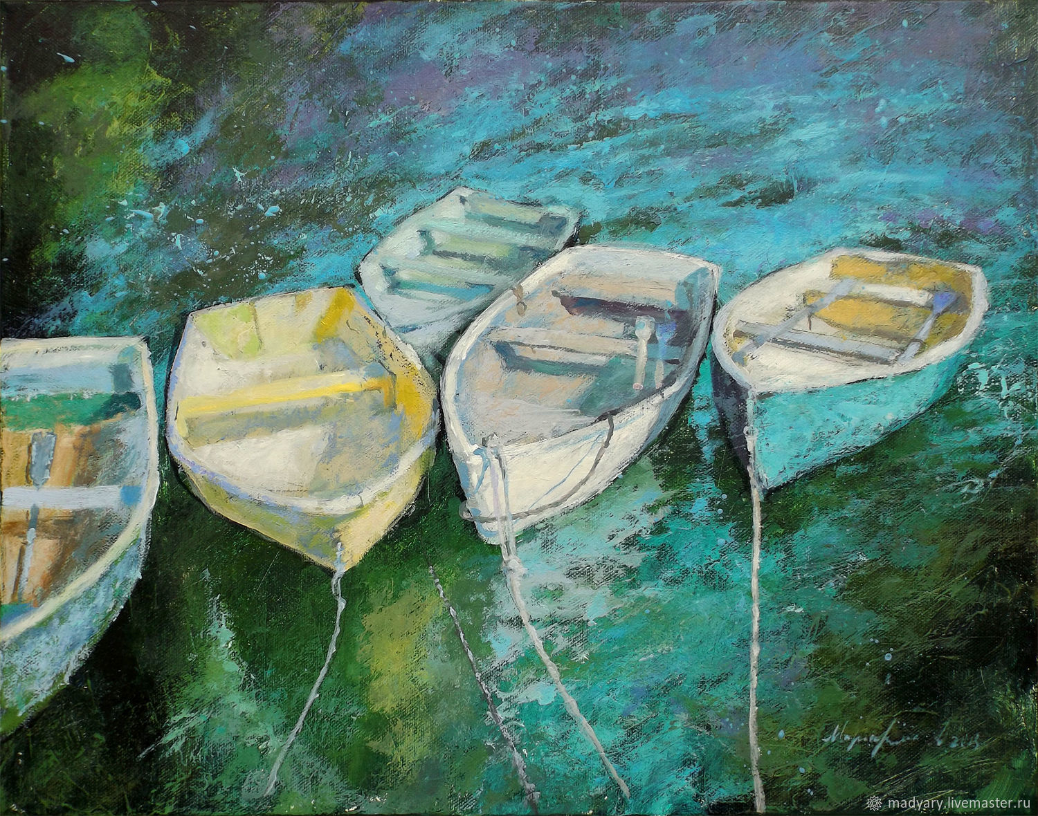 Painting on canvas Boats on a lake (emerald, green, white), Pictures, Smolensk,  Фото №1