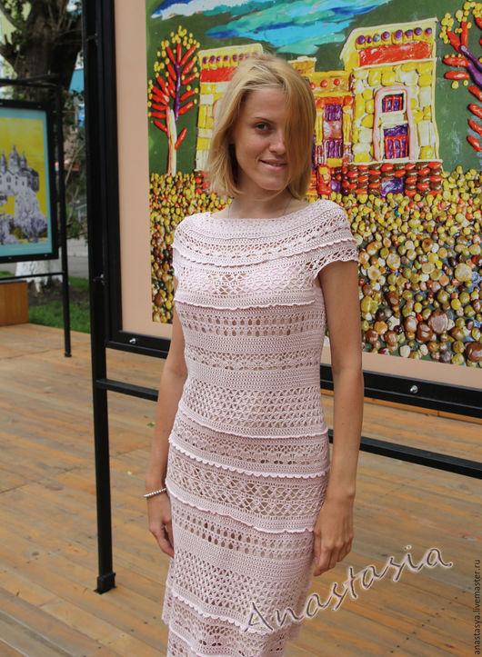 """Платья ручной работы. Ярмарка Мастеров - ручная работа. Купить Платье вязаное """"Розовый шелк"""". Handmade. Бледно-розовый"""