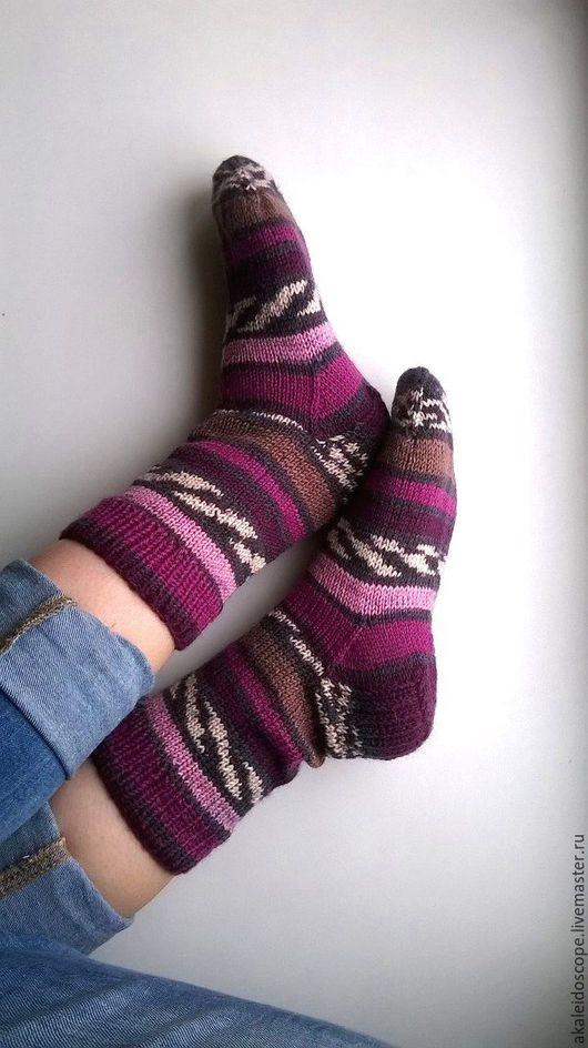 """Носки, Чулки ручной работы. Ярмарка Мастеров - ручная работа. Купить Носки """"Черничные ночи"""". Handmade. Комбинированный, носки спицами"""