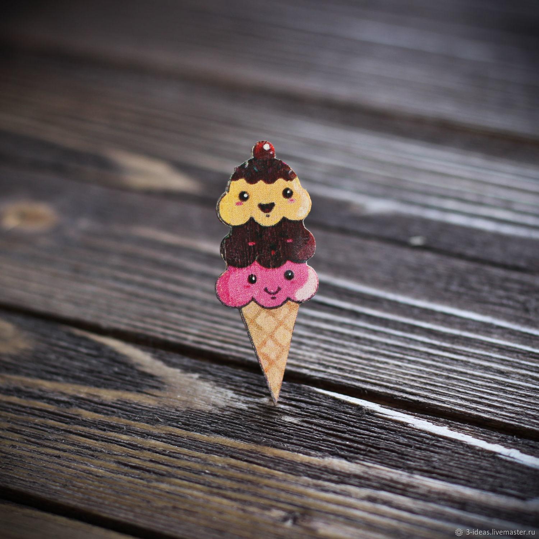 Wooden Ice cream icon, Badge, Volzhsky,  Фото №1