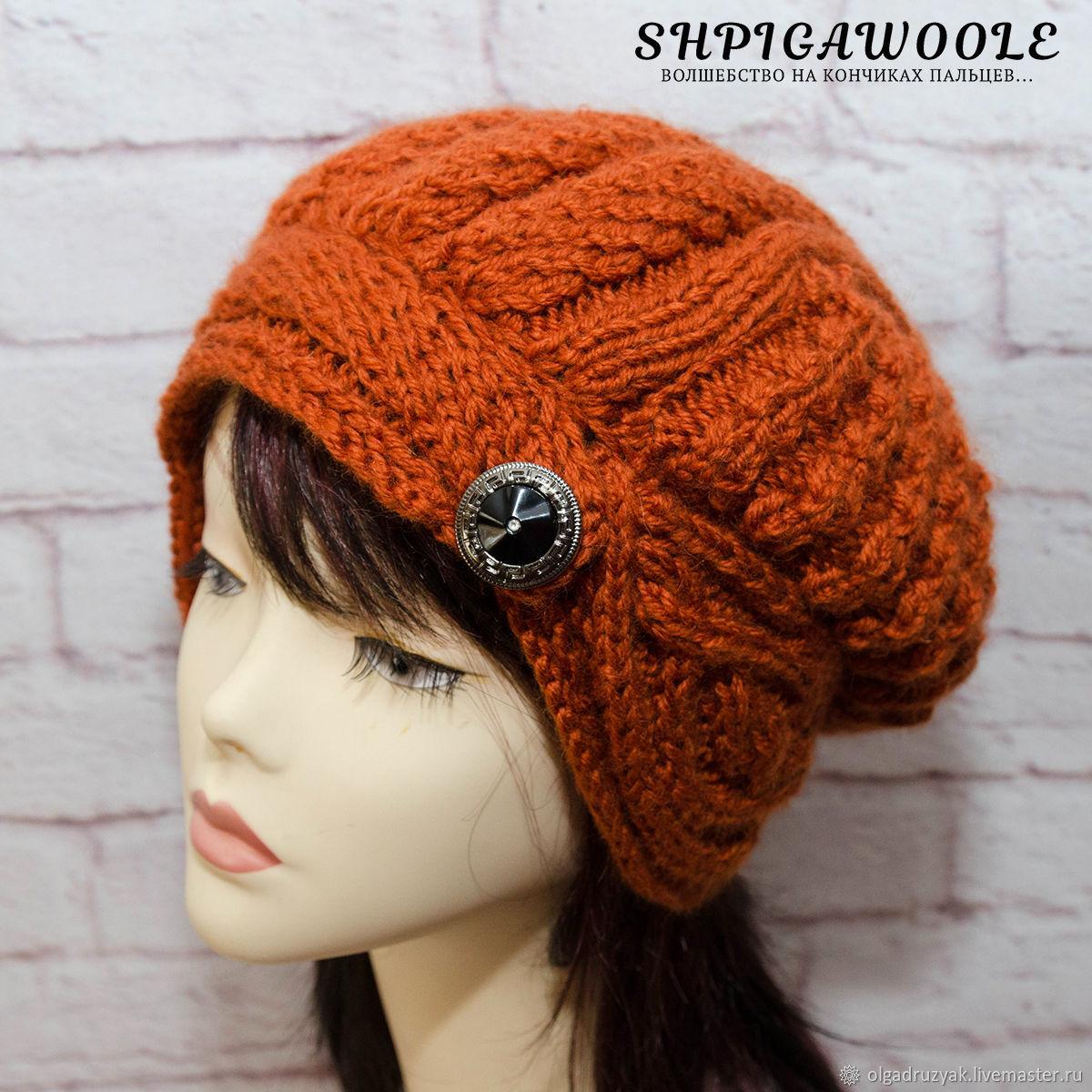 Вязаная женская шапка объемная терракотовая `Diana`