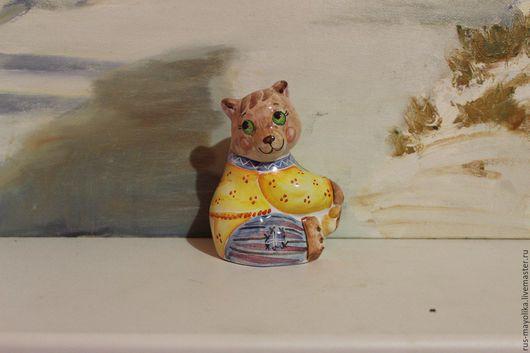 Статуэтки ручной работы. Ярмарка Мастеров - ручная работа. Купить Медвежонок. Майолика.. Handmade. Комбинированный, керамика ручной работы