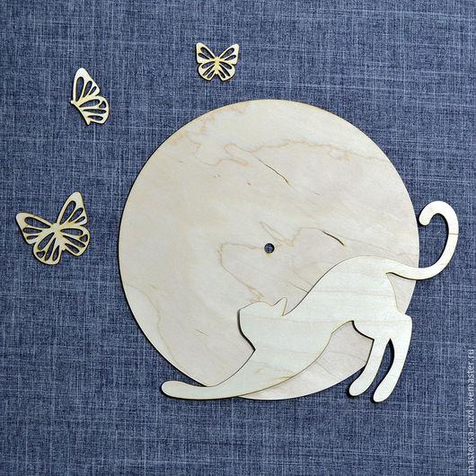 ЧЗ-045. Заготовка для часов `Кошка и бабочки`.