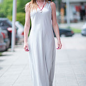 Одежда handmade. Livemaster - original item White, linen floor - length dress-DR0228LE. Handmade.