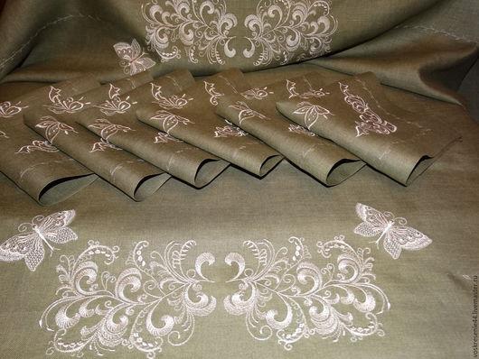 Текстиль, ковры ручной работы. Ярмарка Мастеров - ручная работа. Купить Скатерть с салфетками Серебро на зеленом. Handmade. Текстиль для дома
