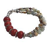 Украшения handmade. Livemaster - original item Jewelry set with coral and amazonite. Coral bracelet & earrings. Handmade.