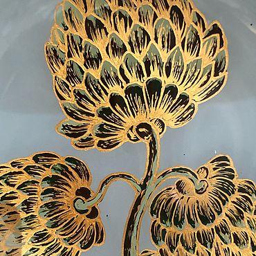 Посуда ручной работы. Ярмарка Мастеров - ручная работа Тарелка из стекла расписная Королевский  Артишок. Handmade.