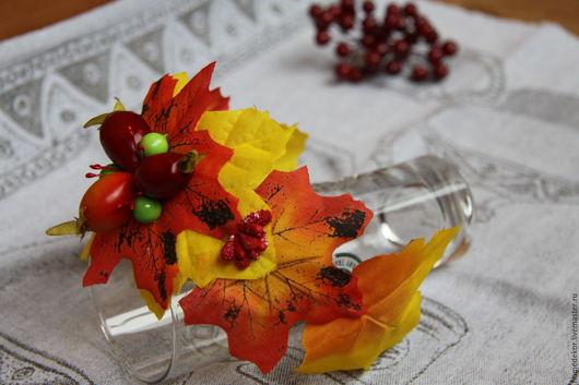 Диадемы, обручи ручной работы. Ярмарка Мастеров - ручная работа. Купить Ободок для волос Осенний (Шиповник). Handmade. Рыжий