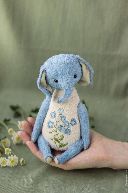 Мишки Тедди ручной работы. Ярмарка Мастеров - ручная работа. Купить Незабудкин. Handmade. Голубой, цветы, тедди слон
