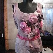 Одежда ручной работы. Ярмарка Мастеров - ручная работа Шелковый топ с нежными розами. Handmade.