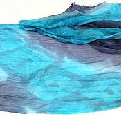 """Аксессуары ручной работы. Ярмарка Мастеров - ручная работа Палантин """" Бирюза и джинс 2"""" - шелк, батик. Handmade."""