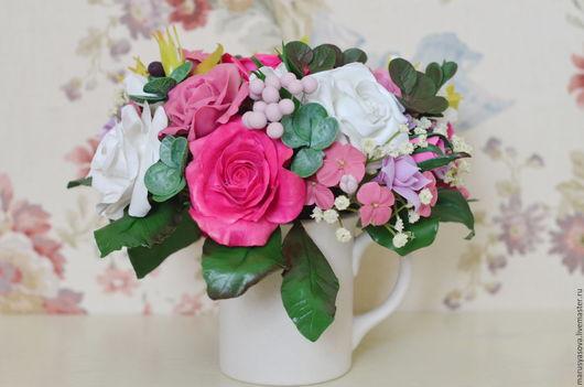 """Цветы ручной работы. Ярмарка Мастеров - ручная работа. Купить Букет """"Розовые розы и черника"""". Handmade. Фуксия, кустовая роза"""