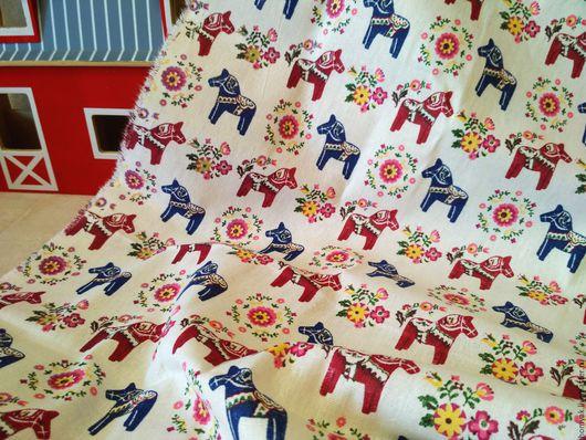 Шитье ручной работы. Ярмарка Мастеров - ручная работа. Купить Ткань льняная лошадки. Handmade. Бежевый, ткань для кукол