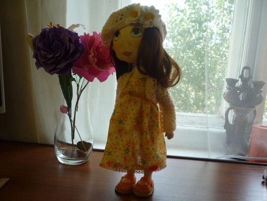 Коллекционные куклы ручной работы. Ярмарка Мастеров - ручная работа. Купить Дуся. Handmade. Оранжевый, хлопок 100%