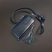 Сумки и аксессуары handmade. Livemaster - original item Phone case with tassel on genuine leather strap.. Handmade.