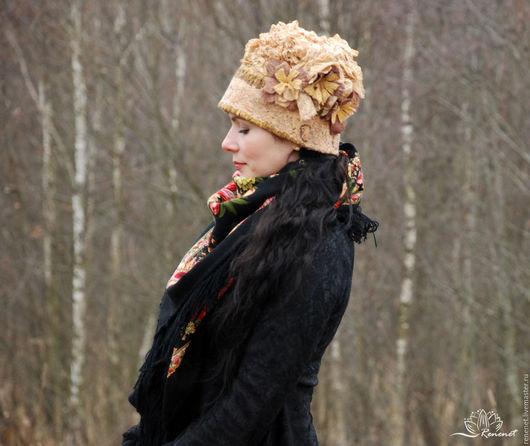 """Шапки ручной работы. Ярмарка Мастеров - ручная работа. Купить Валяная шапка """"Охра"""". Handmade. Зимняя шапка, флис"""