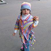 """Работы для детей, ручной работы. Ярмарка Мастеров - ручная работа Пончо и шапочка """"Ласковая радуга"""". Handmade."""