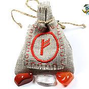"""Оберег ручной работы. Ярмарка Мастеров - ручная работа """"Волшебный мешочек"""" с руническим символом Феху. Handmade."""