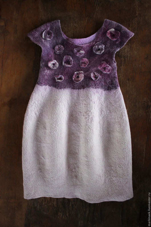 """Одежда для девочек, ручной работы. Ярмарка Мастеров - ручная работа. Купить Детское бело-сиреневое войлочное платье """"White lilac mineral"""". Handmade."""