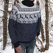 Подарки к праздникам ручной работы. Ярмарка Мастеров - ручная работа Свитер с оленями норвежский вязаный шерсть сине-белый. Handmade.