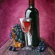 """Картины ручной работы. Ярмарка Мастеров - ручная работа Картина маслом """"Вино и виноград"""".30 на 40см.. Handmade."""