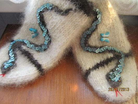Варежки, митенки, перчатки ручной работы. Ярмарка Мастеров - ручная работа. Купить Варежки 8 размер. Из собачьей шерсти. Handmade.