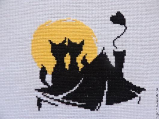 """Животные ручной работы. Ярмарка Мастеров - ручная работа. Купить Вышивка """"Влюблённые коты"""". Handmade. Разноцветный, коты, вышивка на заказ"""