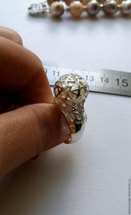 Кольца ручной работы. Ярмарка Мастеров - ручная работа. Купить Кольцо с жемчужиной, серебро 925 пробы.. Handmade. Белый