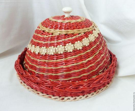 """Кухня ручной работы. Ярмарка Мастеров - ручная работа. Купить Хлебница плетеная """"Цветочный водоворот"""". Handmade. Рыжий, кухонные принадлежности"""