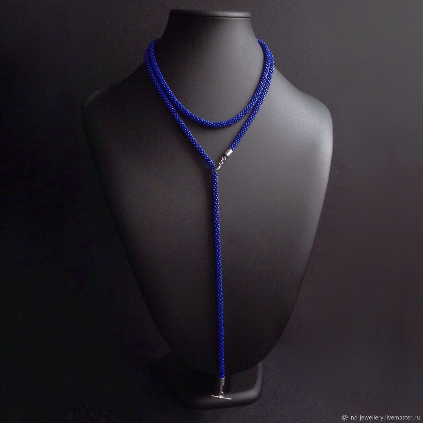 Bright blue with pendant/Lariat/beads from Japanese bead with locking toggle, Necklace, Moscow,  Фото №1