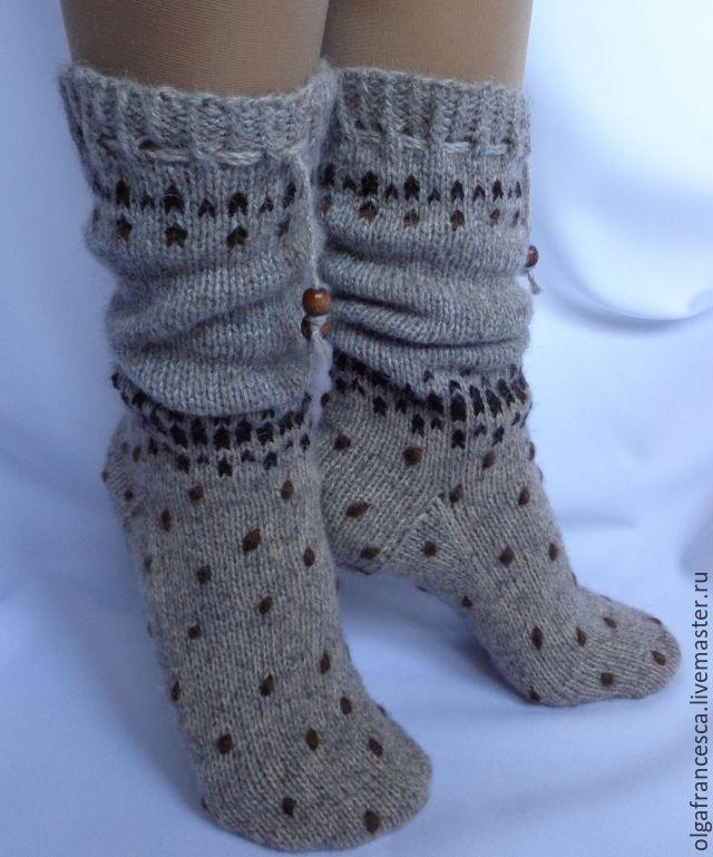 Вязание носков из пуха