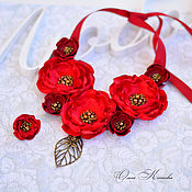 Necklace handmade. Livemaster - original item Necklace made of fabric and leather Red temptation Necklace made of flowers fabric Flowers. Handmade.