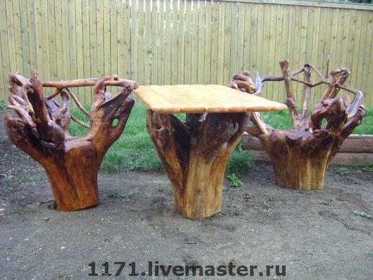 Экстерьер и дача ручной работы. Ярмарка Мастеров - ручная работа. Купить стол с креслами. Handmade. Садовая мебель, дерево