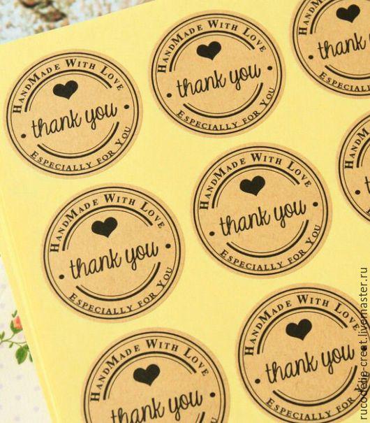 Упаковка ручной работы. Ярмарка Мастеров - ручная работа. Купить Стикеры - наклейки Thank you. Handmade. Комбинированный, Крафт-бумага