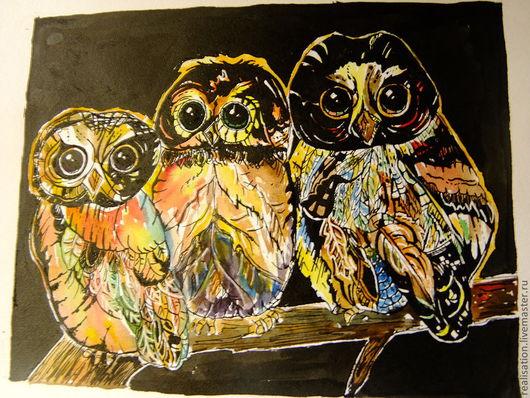 Животные ручной работы. Ярмарка Мастеров - ручная работа. Купить 3 совы. Handmade. Черный, тушь, акварель, сова, графика