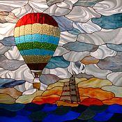 """Для дома и интерьера ручной работы. Ярмарка Мастеров - ручная работа Витраж тиффани в окна """"В ЮАР на воздушном шаре"""". Handmade."""