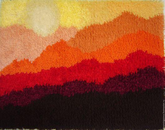 """Пейзаж ручной работы. Ярмарка Мастеров - ручная работа. Купить ковровое панно """"Красные сопки"""". Handmade. Рыжий, солнце, эксклюзив"""