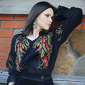"Блузки ручной работы. Ярмарка Мастеров - ручная работа Эксклюзивная вышитая блуза ""Лунные травы"". Handmade."